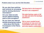 problem areas if you use the cc8 checklist7