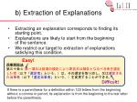 b extraction of explanations