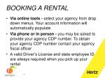 booking a rental