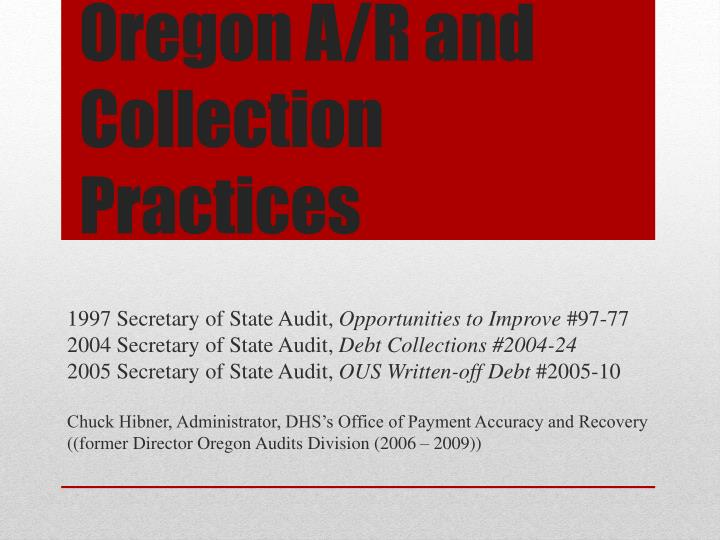 oregon a r and collection practices n.