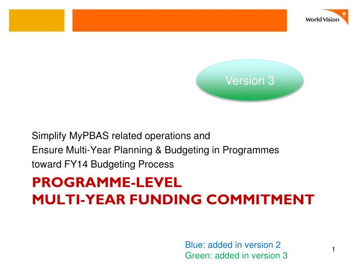 programme level multi year funding commitment n.