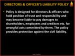 directors officer s liability policy