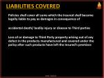 liabilities covered