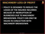 machinery loss of profit
