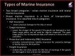 types of marine insurance