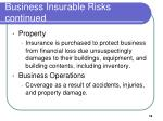 business insurable risks continued