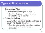 types of risk continued2