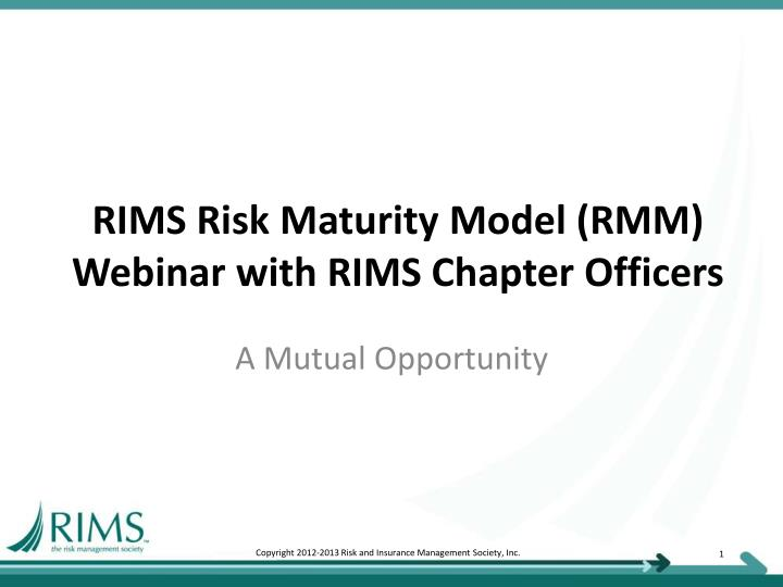 rims risk maturity model rmm webinar with rims chapter officers n.