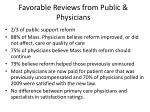 favorable reviews from public physicians
