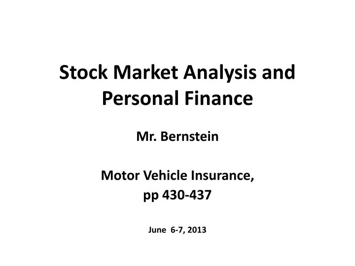 stock market analysis and personal finance n.