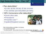 high deductible plans plan 100