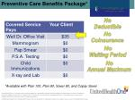 preventive care benefits package