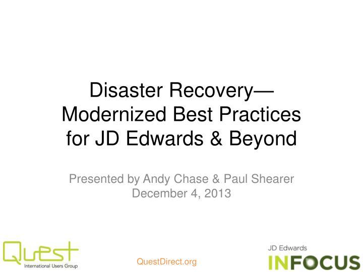disaster recovery modernized best practices for jd edwards beyond n.