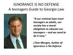 ignorance is no defense a teenagers guide to georgia law1