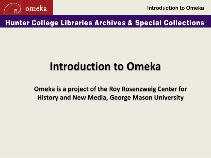 introduction to omeka n.
