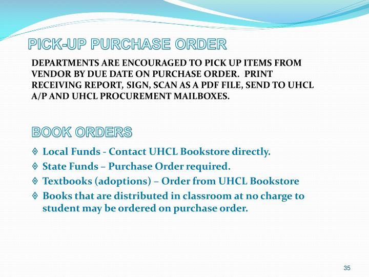Departments are encouraged to pick up items from