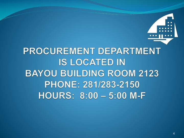 PROCUREMENT DEPARTMENT