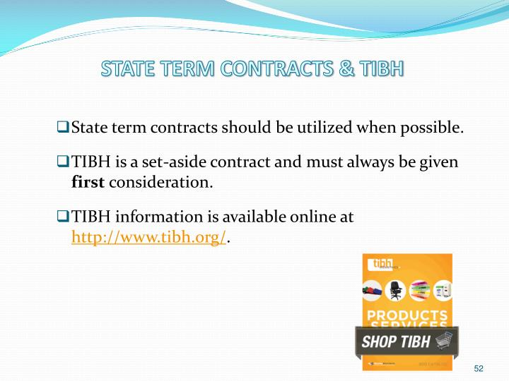 STATE TERM CONTRACTS & TIBH