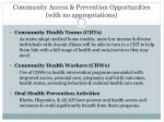 community access prevention opportunities with no appropriations