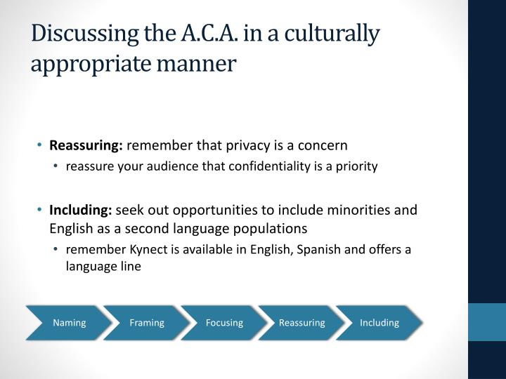 Discussing the A.C.A. in a culturally appropriate manner