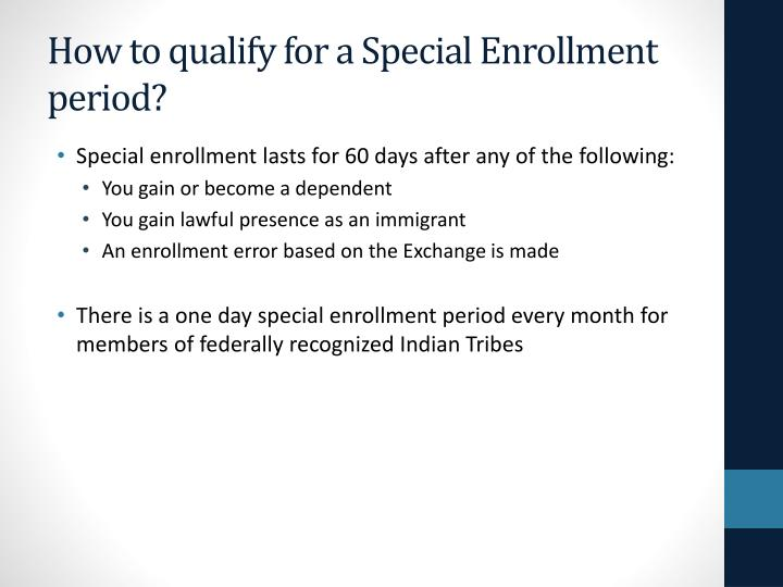 How to qualify for a Special Enrollment period?