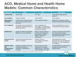 aco medical home and health home models common characteristics