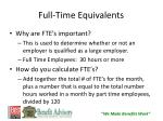 full time equivalents
