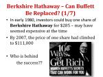 berkshire hathaway can buffett be replaced 1 7