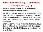 berkshire hathaway can buffett be replaced 5 7