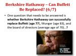 berkshire hathaway can buffett be replaced 6 7
