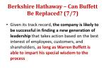 berkshire hathaway can buffett be replaced 7 7