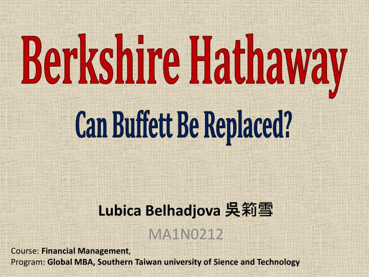 berkshire hathaway can buffett be replaced n.