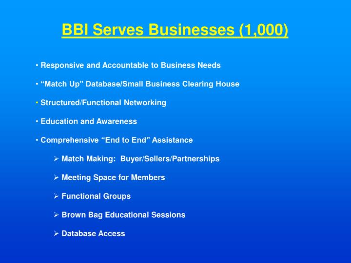 BBI Serves Businesses (1,000)