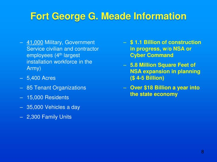 Fort George G. Meade Information