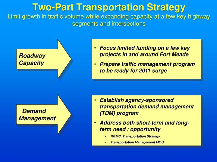 Two-Part Transportation Strategy