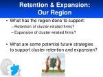 retention expansion our region