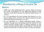 mandatorily e filling of income tax return