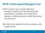 nyin value based managed care