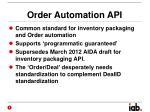 order automation api