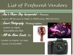 list of preferred vendors
