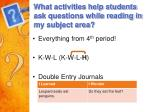 what activities help students ask questions while reading in my subject area
