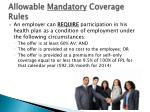 allowable mandatory coverage rules