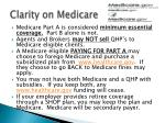 clarity on medicare