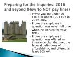 preparing for the inquiries 2016 and beyond how to not pay fines