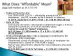 what does affordable mean final safe harbors as of 2 10 14