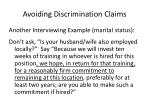 avoiding discrimination claims1