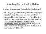 avoiding discrimination claims1