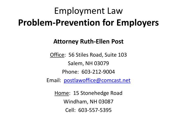 employment law problem prevention for employers n.