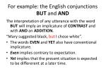for example the english conjunctions but and and