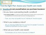 find the right plan assess your health care needs